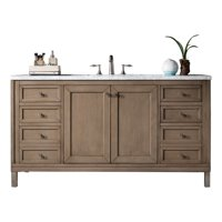 """James Martin Vanities 305-V60S-3AF Whitewashed Walnut Chicago 60"""" Free Standing Or Wall"""
