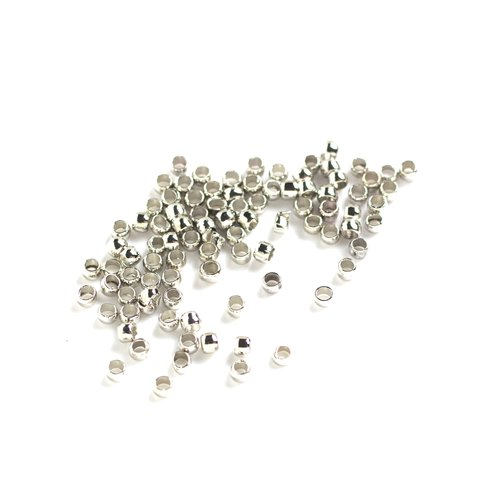 Silver Crimp Beads, 100pc