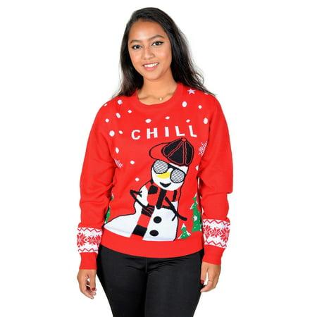 33988745 KESIS - KESIS Chill Gangsta Snowman Ugly Christmas Pullover Sweater -  Walmart.com