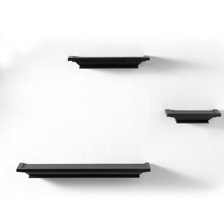 8 In x 4 In x 1.75 In 3 pc. Wall Ledge Shelf Set (Black)