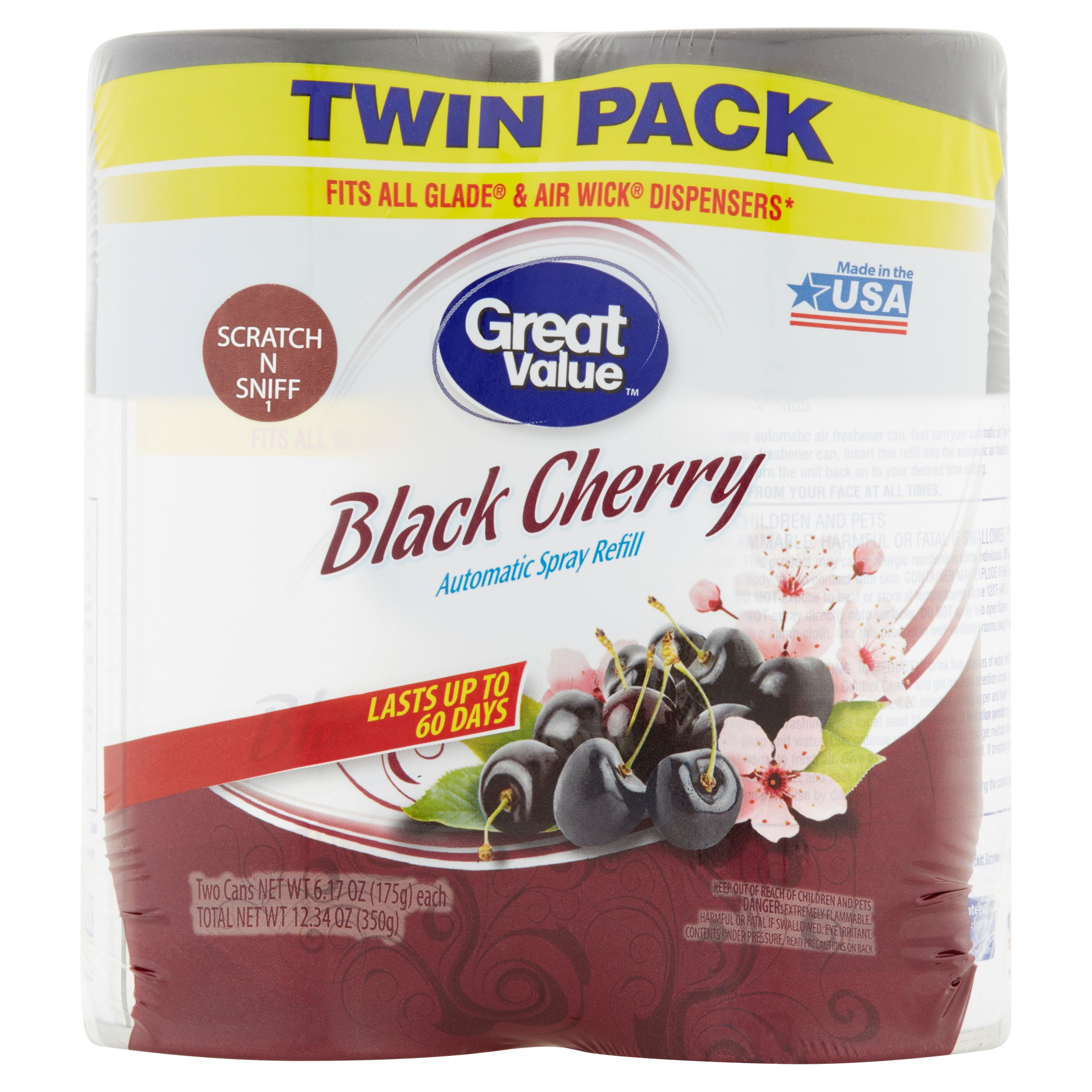 Great Value Black Cherry Automatic Spray Refill, 6.17 oz, 2 Count