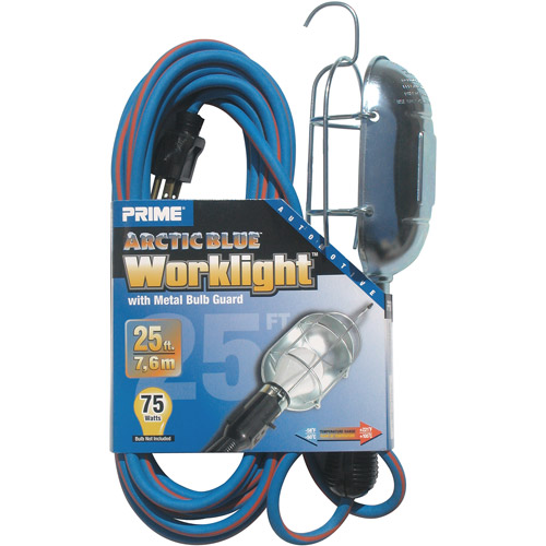 Prime Arctic Blue All-Weather 16/3 SJEOW Metal Guard Work Light With Outlet, 25-Feet
