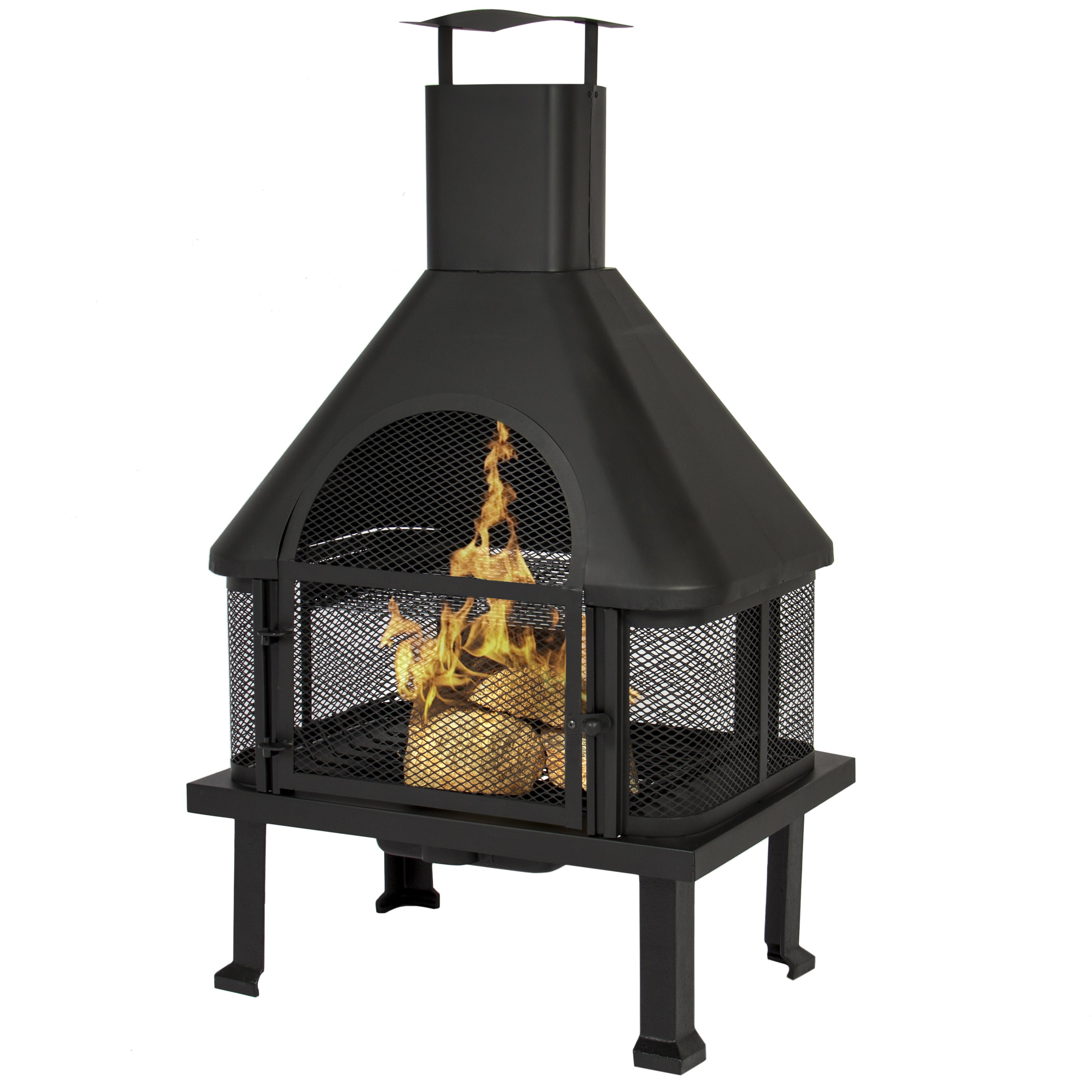 BCP Firehouse Firepit With Chimney Outdoor Backyard Deck Fireplace by
