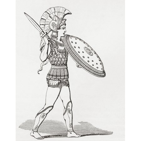 Helmeted Greek warrior wearing greaves and armour holding a Clipeus shield and sword From The Imperial Bible Dictionary published 1889 Canvas Art - Ken Welsh  Design Pics (12 x