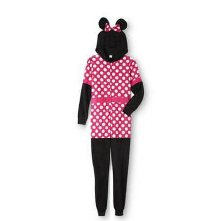 Disney Minnie Mouse Womens Pink Polka Dot Fleece Hooded Pajama (Hooded Polar Dog Fleece)