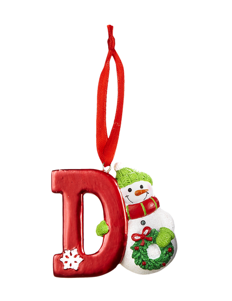 HOLIDAY SNOWMAN Monogram Initial Christmas Ornament Choose Your Letter!