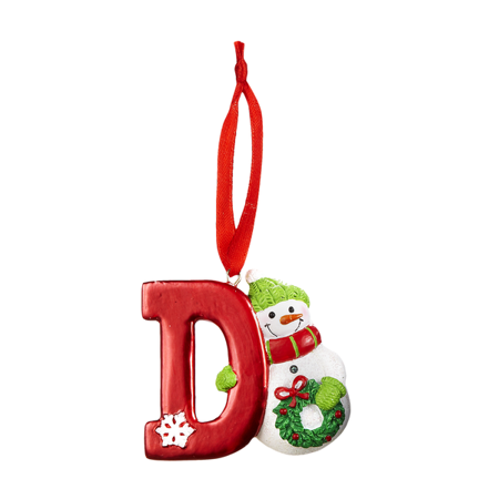 HOLIDAY SNOWMAN Monogram Initial Christmas Ornament - Letter D