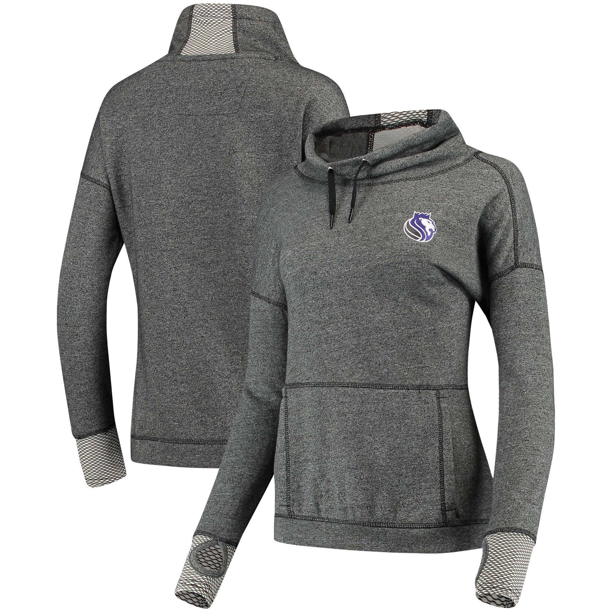 Sacramento Kings Antigua Women's Snap Cowl Neck Pullover Sweatshirt - Heathered Black