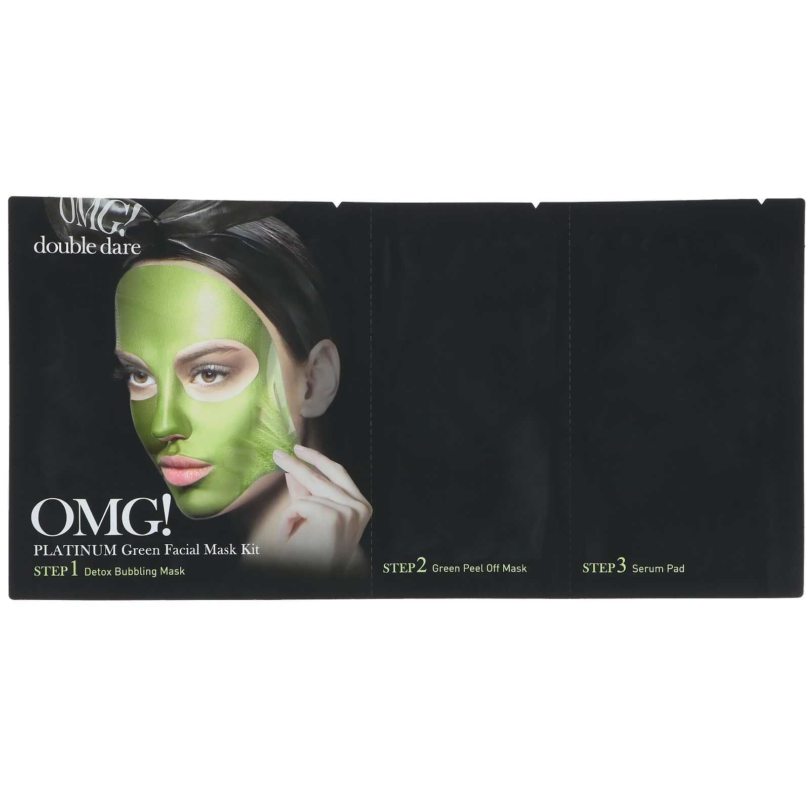 [Double Dare] OMG! Platinum Green Facial Mask Kit Beau Brummell for Men - Detoxifying Charcoal Rich Mud Mask Controls Oil Level
