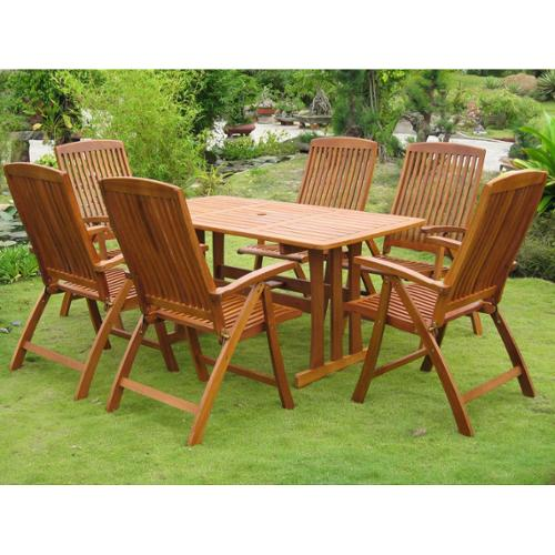 International Caravan Royal Tahiti 'La Coruna' Yellow Balau Hardwood Dining Set (Set of 7)