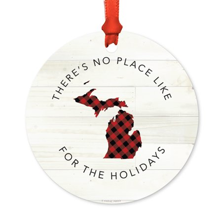 US State Round Metal Christmas Ornament, Red Plaid on Light Rustic Wood, Michigan, Includes Ribbon and Gift - Michigan Metal