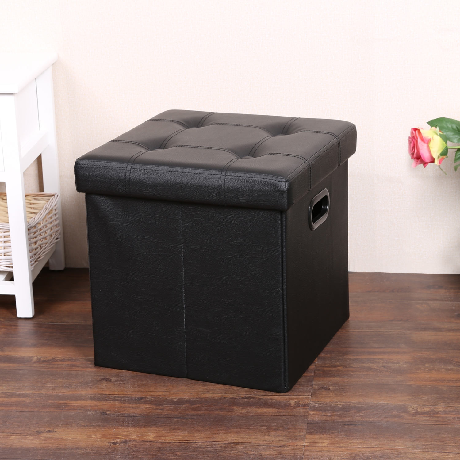Foldable Storage Stool Seat  Cube Footrest Box Ottoman Stool Pouf Leather Seat Foot Table