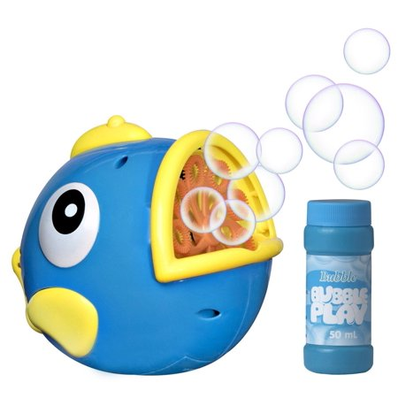 Bubble Play Bubble Fish - Powerful Battery Operated Bubble Blowing Machine for Kids w/ Large 50ml Soap Capacity & Motorized Rotating Wand System for 100's of Bubbles Per Minute - Perfect for Parties!](Fog Bubble Machine)