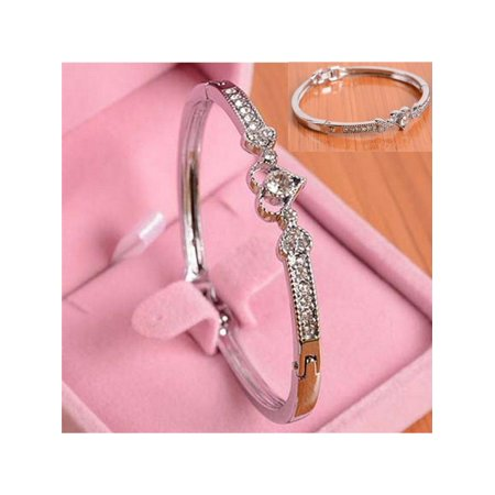 Women Love Heart Alloy Crystal Bangle Silver Plated Bracelet Jewelry Charming Gift For Valentine's Day