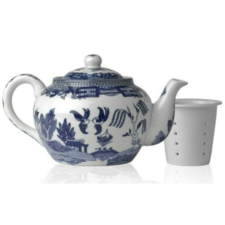 HIC Blue Willow Teapot, Fine White Porcelain, 6-Cup, 32-Ounce