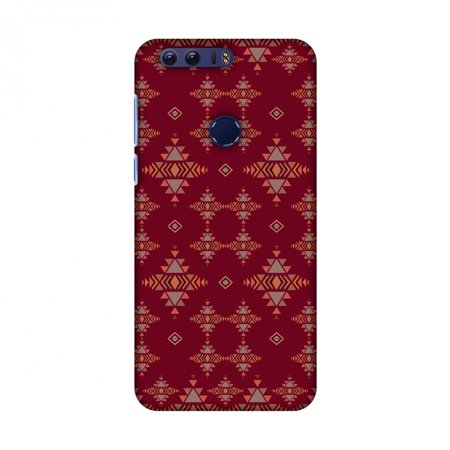 Huawei Honor 8 Case - Tribal tessellations- Burnt red, Hard Plastic Back Cover, Slim Profile Cute Printed Designer Snap on Case with Screen Cleaning Kit - Halloween Tessellations