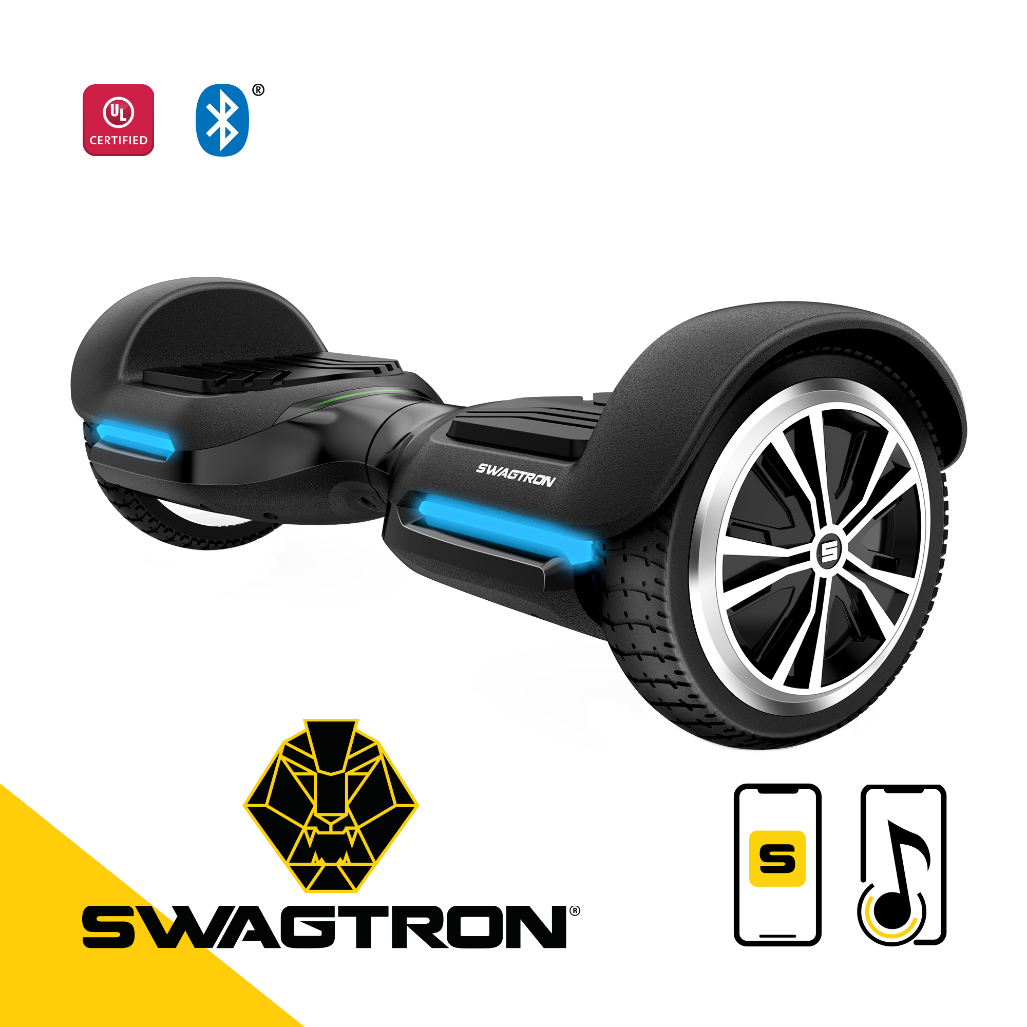 Swagtron Swagboard Vibe T580 Hoverboard with Bluetooth Speakers - Black