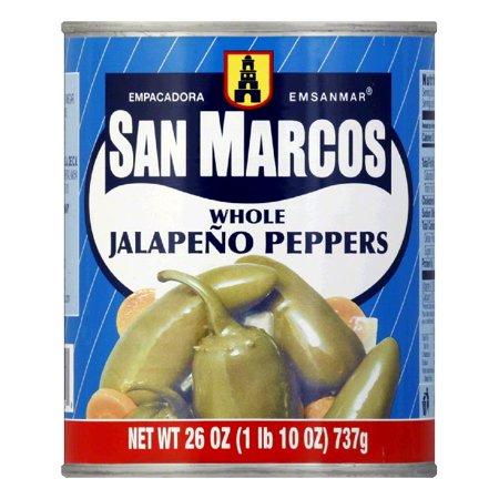 San Marcos Whole Jalapeno Tin, 26 OZ (Pack of 12) (Outlet De San Marcos)