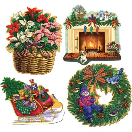 """Set Of 4 Christmas Holiday Cutouts Party Decorations 13""""-15"""""""