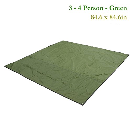 Multipurpose Waterproof Tent Tarp Footprints Outdoor Camping Shelter Canopy Cover Blanket Mat (Green 7x7 ft) by