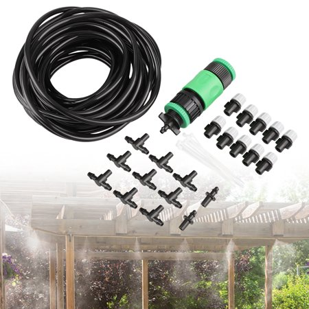 "33ft Outdoor Misting Cooling System, TSV Garden Drip Irrigation Watering Kits, Great for Summer Mister Cooling & Plants Watering, Misting Line + 10PCS Misting Nozzles + 3/4"" and 1/2 Hose Quick Socket (House Plant Watering System)"