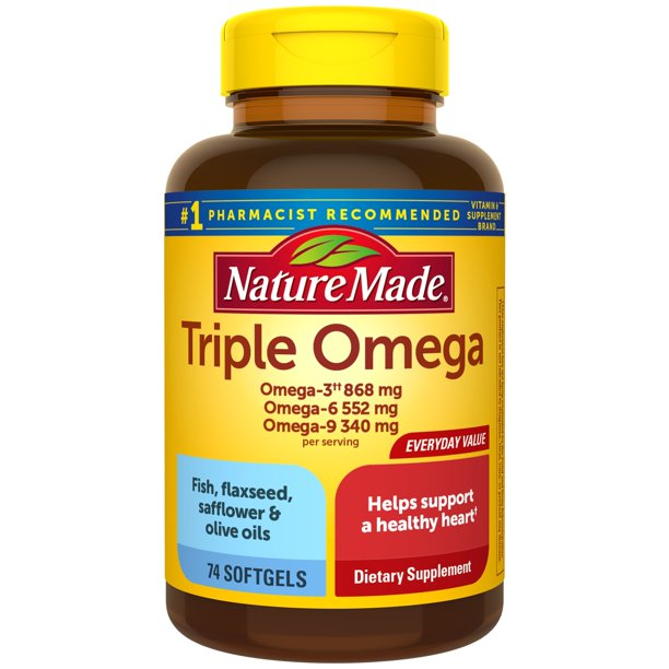 Nature Made Triple Omega 3 6 9 Two A Day Softgels 74 Count Value
