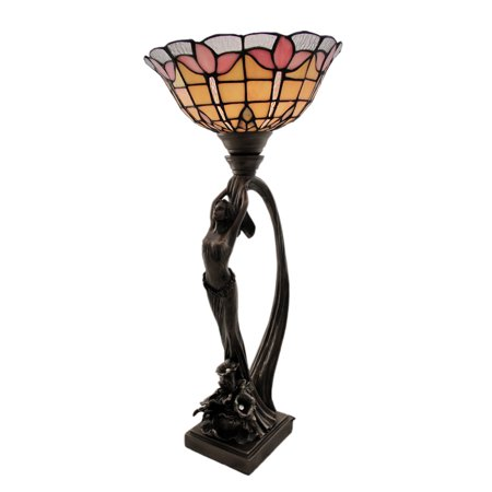 Art Nouveau Style Long Haired Woman Floral Stained Glass Table Lamp