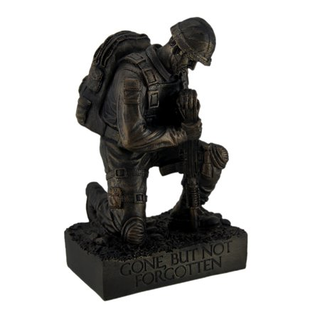 Military Statues (Silent Salute Kneeling Military Soldier with Rifle In Ground Statue)