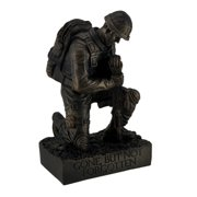 Silent Salute Kneeling Military Soldier with Rifle In Ground Statue