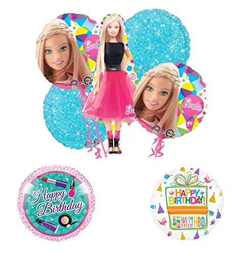 Barbie Doll Party Supplies and Birthday Balloon Bouquet Decorations