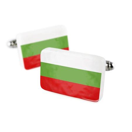 Cufflinks Bulgaria Flag Porcelain Ceramic NEONBLOND ()