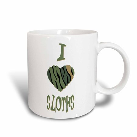 Colored Ceramic - 3dRose  Camo Colored Striped I Love Sloths, Ceramic Mug, 11-ounce