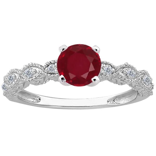 1.15 Ct Round Red Ruby Diamond 18K White Gold Ring