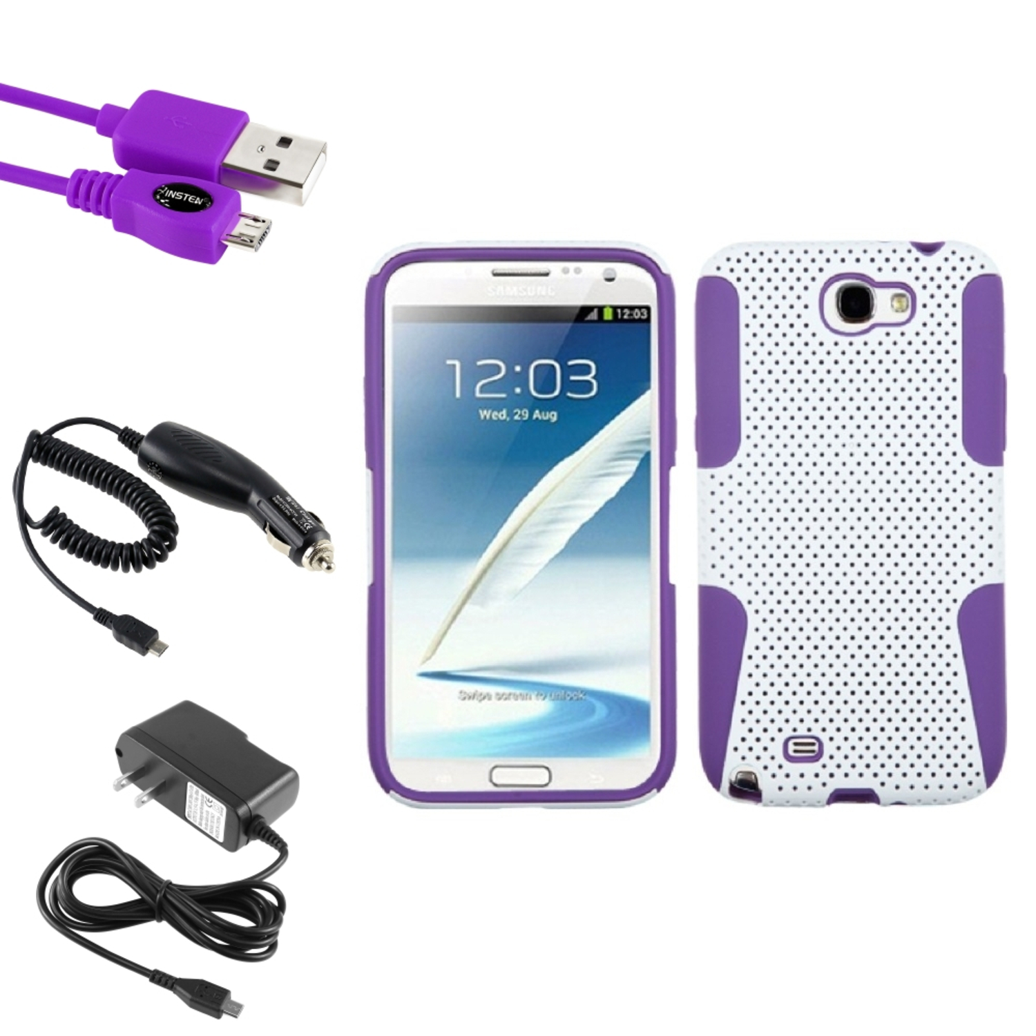 Insten Purple/White Hybrid Case 2x Charger USB For Samsung Galaxy Note 2