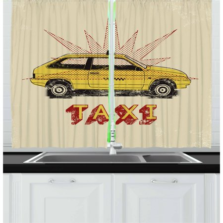 - Retro Curtains 2 Panels Set, Pop Art Style Old Fashioned Taxi Cab with Grunge Effects Vintage Car Graphic, Window Drapes for Living Room Bedroom, 55W X 39L Inches, Beige Yellow Ruby, by Ambesonne