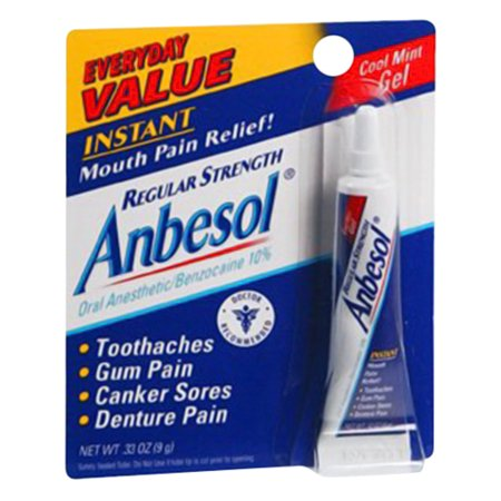 Anbesol Regular Strength Fast Mouth Pain Relief Cool Mint Gel, 0.25 Oz, 2 Pack