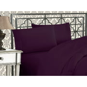 Elegant Comfort®  Silky-Soft 1800 Series  - Wrinkle-Free 4-Piece Bed Sheet Set, Deep Pocket up to 16 inch, Queen Purple