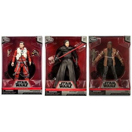 Star Wars The Force Awakens Elite Finn Poe Kylo Ren Diecast Figure Set - (3