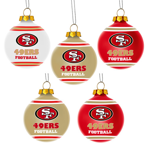 Forever Collectibles NFL 5-Pack Shatterproof Ball Ornaments, San Francisco 49Ers