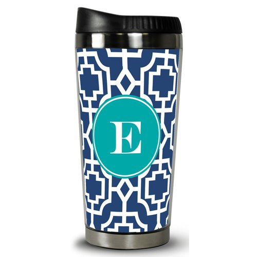 Whitney English Designer Lattice Single Initial Travel Mug