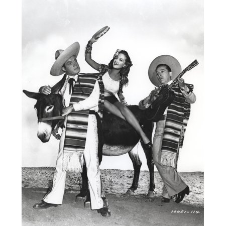 Bob Hope Along with Man and Woman in Cowboy Outfit with Guitar Group Portrait Photo Print