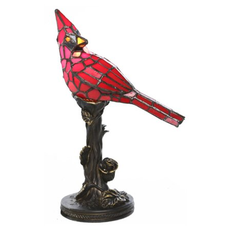 River of Goods 11841 Stained Glass Cardinal Table - Butterfly Stained Glass Table Lamp
