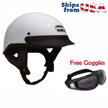 - Motorcycle Half Helmet Cruiser DOT Street Legal (L, White) + Free Goggles