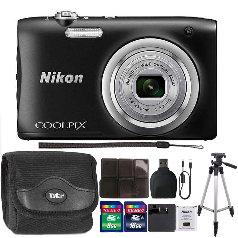 Nikon COOLPIX A100 20.1MP f/3.7-6.4 Max Aperture Compact Point and Shoot Digital Camera 24GB Accessory Kit Black