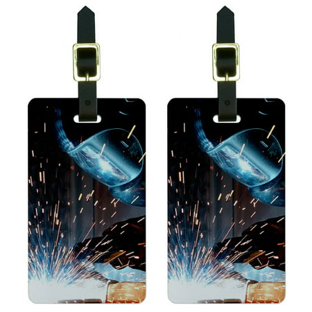 Graphics and More Welder Welding Hot Metal Worker - Soldering Luggage Tag Set