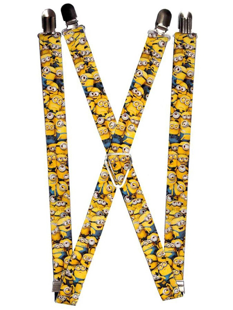 """Despicable Me Minions Stacked Close Up Suspenders   1.0"""" Wide"""