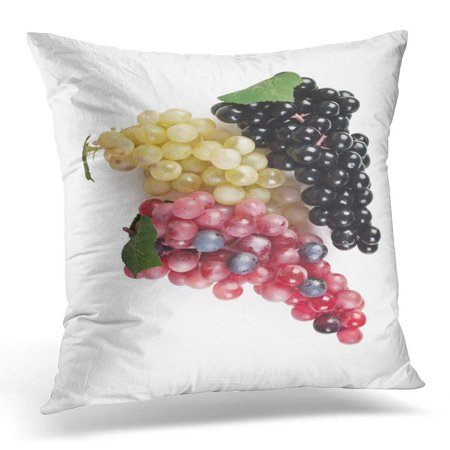 ARHOME Green Autumn Fake Bunch of Grapes White Red Sweet Pillow Case Pillow Cover 20x20 inch - Dark Red Face