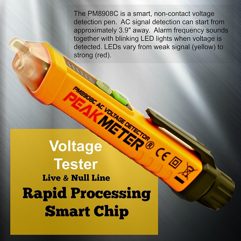 Non Contact Voltage Detector By Smart Outlet Pm8908c 12 1000v Ac Portable Test Pencil Voltmeter Circuit Tester Led Flashlight Live Wire Volt Current Orange