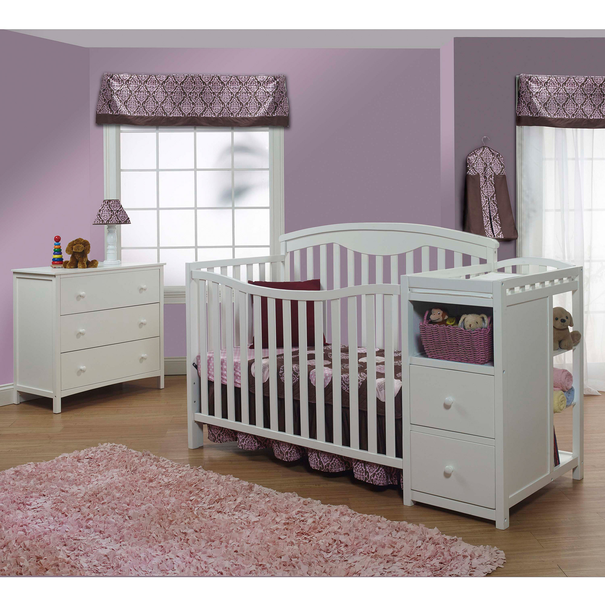 Sorelle Presley 4-in-1 Fixed-Side Lifetime Convertible Crib and Changer