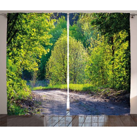 Spring Curtains 2 Panels Set  Path In Forest By The Lake Sun Light Reflecting On Fresh Leaves Tranquil Image  Window Drapes For Living Room Bedroom  108W X 84L Inches  Lime Green Grey  By Ambesonne
